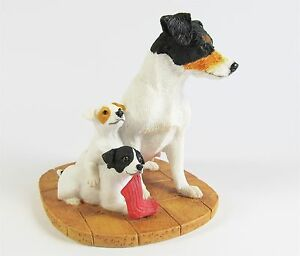 Jack-Russell-Tri-Colour-Mother-amp-Pups-Dog-Figurine-Border-Fine-Arts