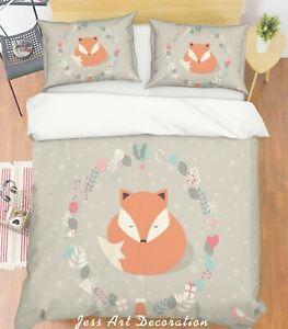 3D-Cartoon-Fox-Grey-Quilt-Cover-Duvet-Cover-Comforter-Cover-Single-Queen-68
