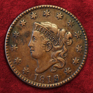 1819/8 CORONET HEAD LARGE CENT N-1 BN, HIGHER GRADE! *XF+* SRS: R1