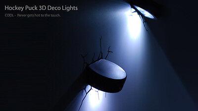 3D HOCKEY Deco Wall LED Night LIGHT +CRACK Stickers Kids/Sports Room Decor NHL