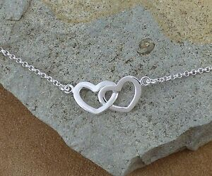 Image Is Loading New 925 Sterling Silver Linked Hearts Bracelet Jewellery