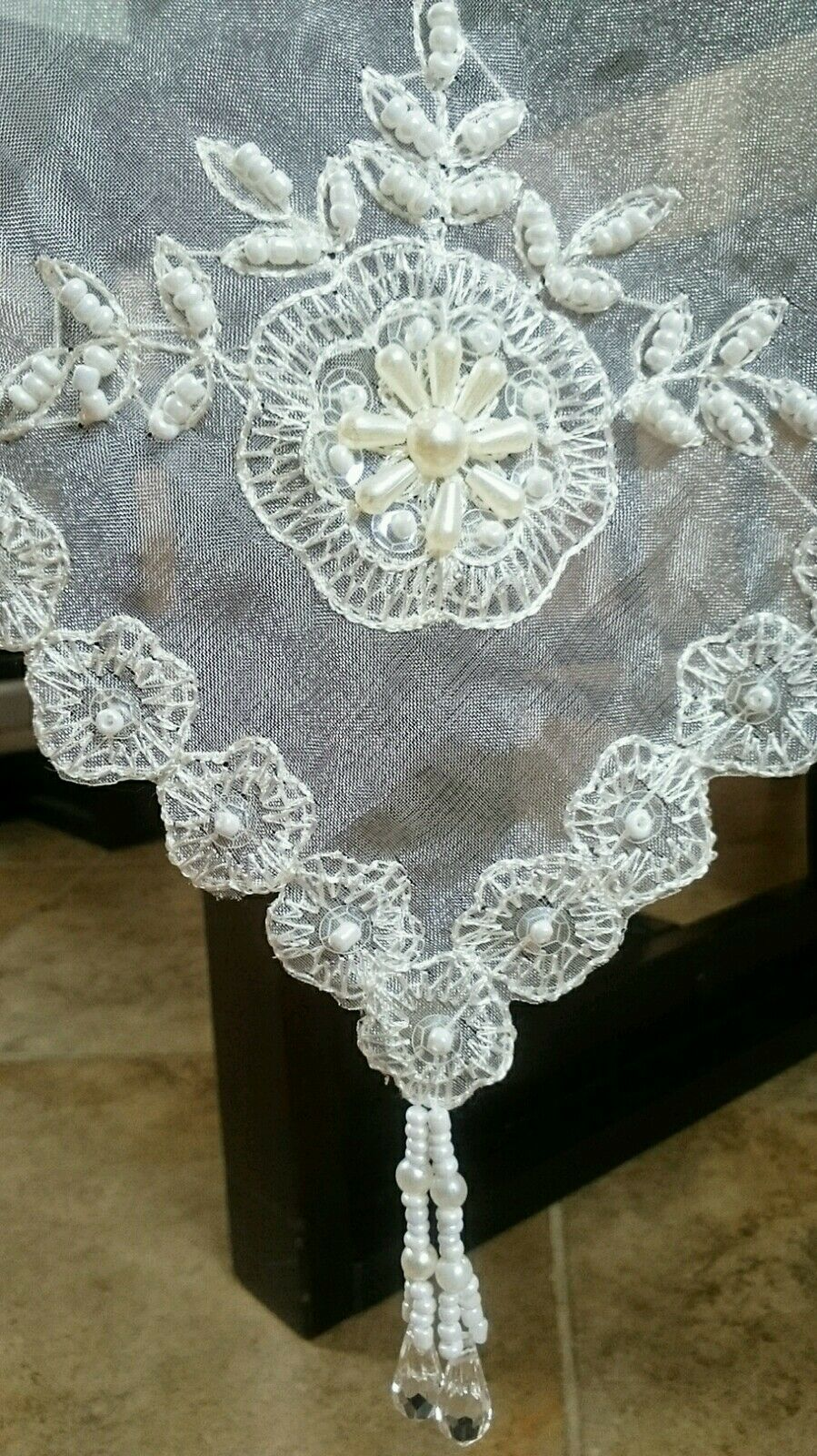 Elegant Elegant Elegant Linen 54x72  Handmade Beaded Pearl Sheer Embroidery Tablecloth Napkins a99aed
