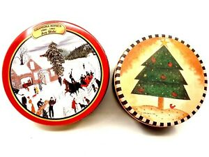 Pair of Country Farmhouse Christmas Decorative Metal Tins Holiday Collectibles