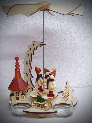 Teelicht Winterfiguren Pyramide mit Seiffener Kirche 24 cm hoch 3 Lichter 50030