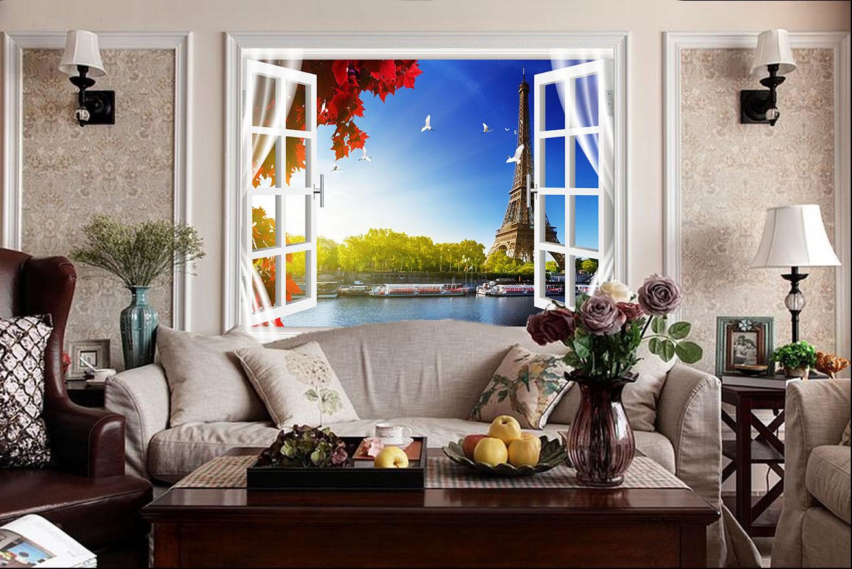 3D Fenster Eiffelturm 7 Tapete Wandgemälde Tapete Tapeten Bild Familie DE Summer