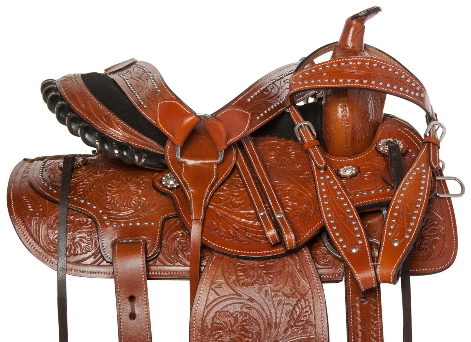 PRO LEATHER WESTERN BARREL RACING SADDLE TRAIL SHOW HORSE SET 14 15