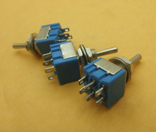 100 PCS 2 rows 6-pin MTS-203 power supply Toggle Switchs ON-OFF-ON Solder Lug