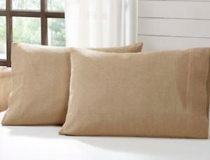 BURLAP-NATURAL-Standard-Pillow-Case-Set-2-Khaki-Tan-Cotton-Primitive-Rustic-VHC