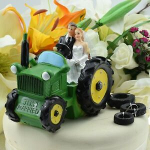 Bride & Groom \'Just Married\' Green Tractor Wedding Cake Topper | eBay
