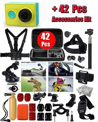 42 in 1 Accessories Bundles Case Chest Head Strap+Xiaomi yi Action Sport Camera