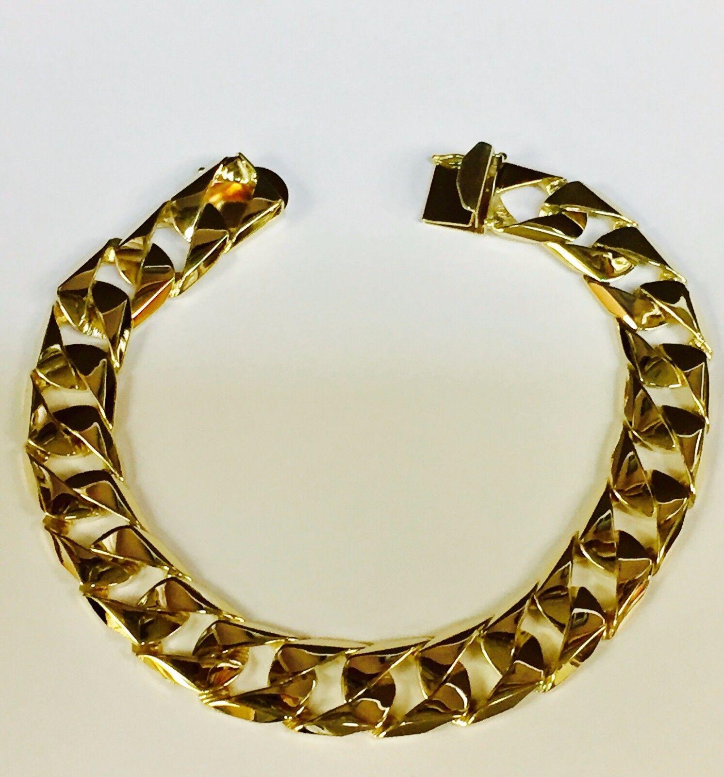 14kt Solid Yellow gold Handmade Curb Link Mens Bracelet 9.5  53 Grams 14MM