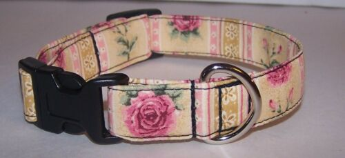 Wet Nose Designs Rose Lovers Stripe Dog Collar Pink Rose Tan or Green