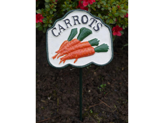 Carrots Vegetable Sign Cast Iron Painted - Perfect for Your Garden