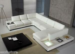 White Sectional Sofa T35 VIG Bonded Leather Modern with Light - Free Shipping