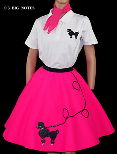 """NEW 6 PC NEON PINK 50/'s POODLE SKIRT OUTFIT ADULT SiZe Small WAIST 25/""""-32/"""" L25/"""""""
