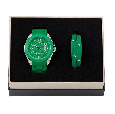 DSE 5122585 Green Watch with Bracelet Silicone Set Swarovski Crystal Authentic
