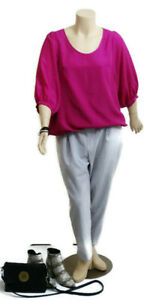 CITY CHIC Hot Pink Satin Style Top With Elbow Length Sleeves | Plus Size: S (16)