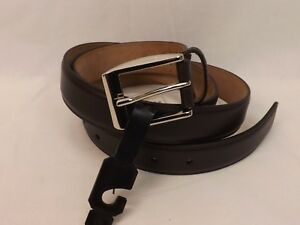d4d24df7a75 NWT GUCCI DARK BROWN LEATHER SILVER SQUARE BUCKLE CLASSIC 336831 ...