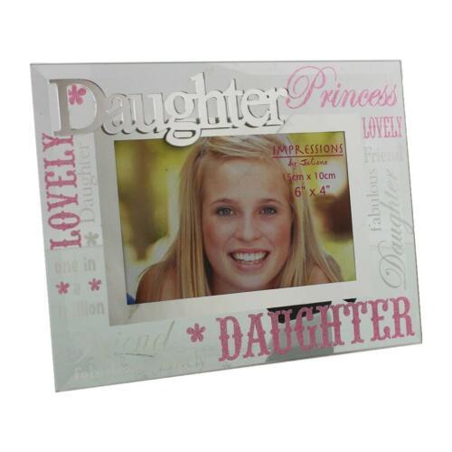 Verre 6 x 4 cadre photo avec miroir en verre /& paillettes lettres-fille