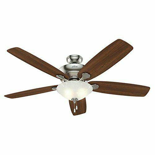 Hunter Regalia 60 In Brushed Nickel Downrod Or Flush Mount Ceiling Fan With Light Kit 54045 For Sale Online Ebay