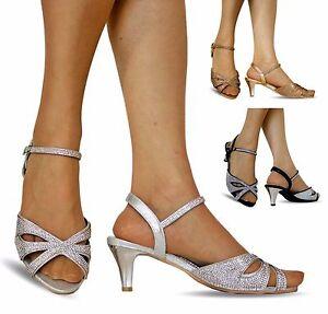 4b2f2d40e3f NEW Ladies Party Diamante Wide Feet Low Kitten Heel Shoes Sandal ...