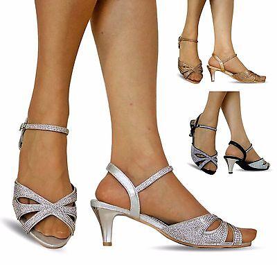 NEW Ladies Party Diamante Wide Feet Low