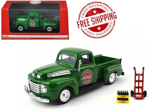 1948 Ford Pickup Truck Coca-Cola Green With Coke Bottle Cases And Hand Cart 1//43