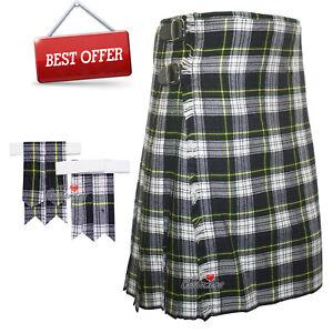 Scottish-Gordon-Dress-Men-039-s-8-Yard-Tartan-Kilt-With-Flashes-Premium-Quality-WLC