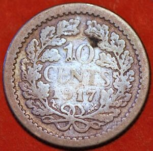 1917-Netherlands-10-Cents-Wilhelmina-KM-145-Silver