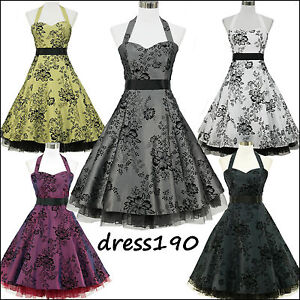 dress190-HALTER-FLOCK-TATTOO-50s-60s-ROCKABILLY-VINTAGE-PROM-PARTY-DRESS-US-6-24