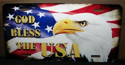 GOD BLESS AMERICA AMERICAN FLAG  EAGLE METAL ALUMINUM CAR LICENSE PLATE TAG