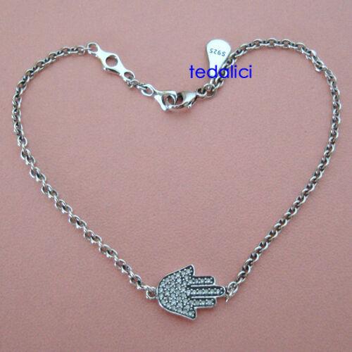 Argent sterling 925 hamsa main Avec Zircone Cubique Zircone Cubique Charme Bracelet
