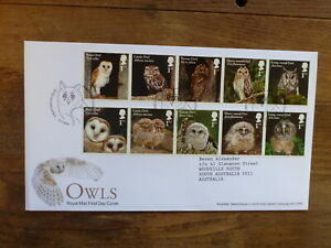 GREAT-BRITAIN-2018-OWLS-SET-10-STAMPS-FDC-HOOTON