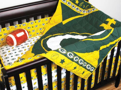 NEW GREEN BAY PACKERS NFL 4 PC Crib Set: Quilt NO Bumper Bedshirt 2 Sheet
