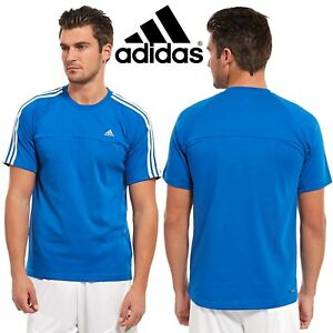 adidas Essential 3 Stripe Men  039 s Casual T-Shirt Royal Blue ... 253e1b9d130fd