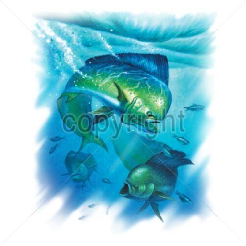 Dorado Fish HEAT PRESS TRANSFER for T Shirt Sweatshirt Tote Fabric Block #248h