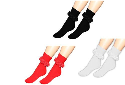 Ladies Frilly Ankle Lace Socks Retro School Trainer Girls Lacey Fancy Dress