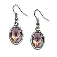 Koala Bear - Novelty Dangling Drop Oval Charm Earrings