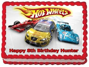 Image Is Loading HOT WHEELS EDIBLE CAKE TOPPER BIRTHDAY DECORATIONS