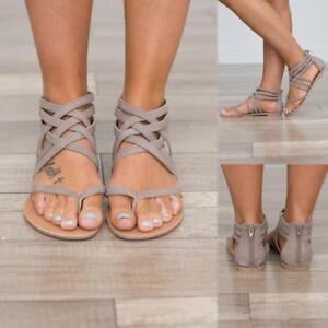 Womens-Low-Flat-Heel-Ladies-Zip-Back-Gladiator-Sandals-Flip-Flops-Shoes-Size-JJ