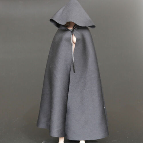 """1:6 Scale Black Soldier CLoak Hooded Cape For 12/"""" PH HT Female Male Body Doll"""