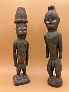 Two-Vintage-Congolese-Hand-Carved-Wooden-Figures-with-Bead