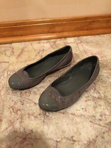 84691eae1193 Calvin Klein Flat Women s 8M Leather Patent Toe Logo Grey Suede ...