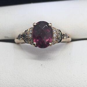 4da2b72c73057 Details about Le Vian Rhodolite Garnet 1/6 ct tw Diamonds 14K Gold Ring  Size 4.5
