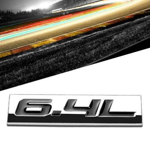 Black//Chrome 6.4L Number Sign Rear Trunk Metal Trim Badge Decal Plate Emblem