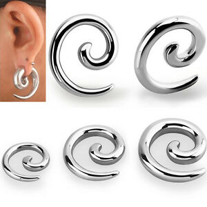 Pair-Jewelry-Polished-Metal-Steel-Ear-Plugs-Curled-Spiral-Hanger-Earrings-10G-0G