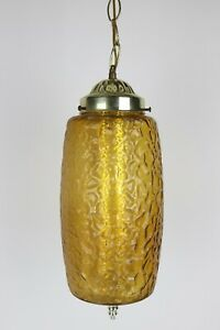 Vintage Lawrin Mid Century Textured Glass Brass Cylinder Hanging Ceiling Light