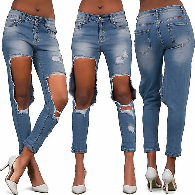 Women Ripped Skinny Jeans Ladies Ripped Knee Stretchy Denim Pants Size 8-14