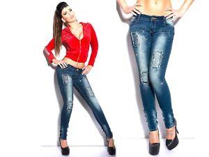 Donna S Stretch Borchie 36 Strass Strappi M Denim Skinny 40 Jeans 38 L Pantaloni BP4dWwqq