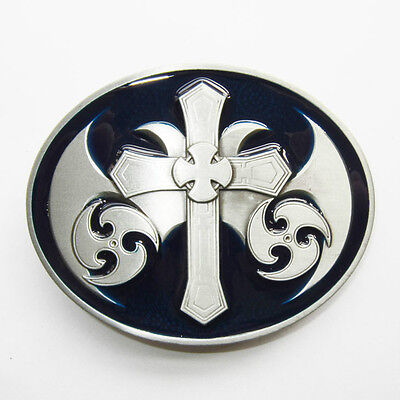NEW CELTIC CROSS IRISH BLUE MEDIEVAL GOTHIC BELT BUCKLE